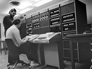 Ken Thompson and Dennis Ritchie, working on PDP-11 and UNIX in 1972